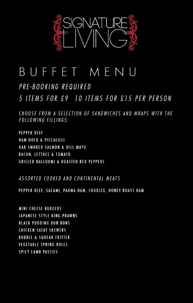 Buffet Menu Liverpool Hotel Signature Living