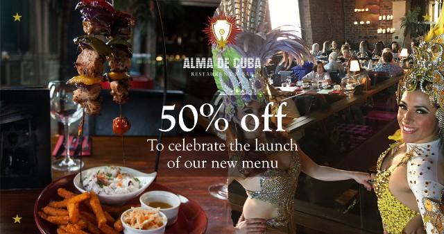 50 percent off at Alma de Cuba