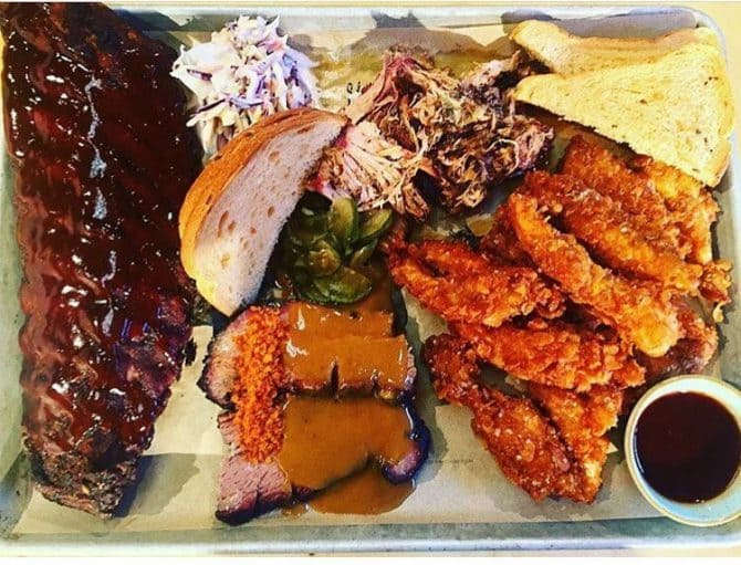 group meal in Liverpool - BBQ tray Slims Pork Chop Express