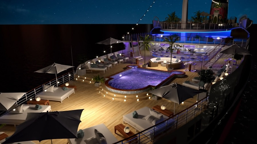 The Funchal floating beach club Night